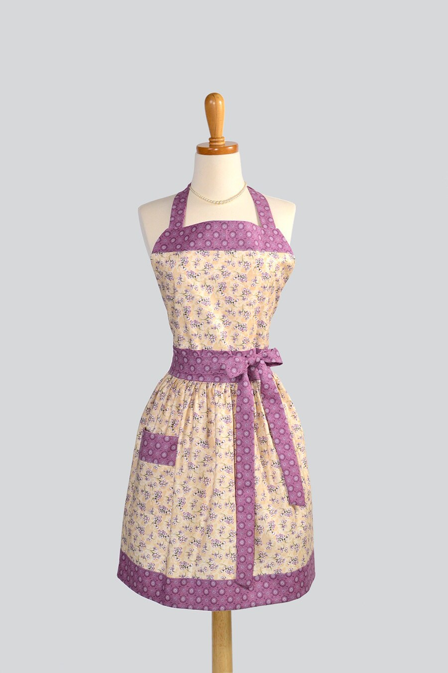 Womens Bib Full Apron : Full Kitchen Apron in Vintage Indigo Lavender Flowers with Creamy Background Perfect for Monogram or Persoalization