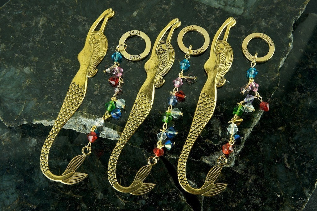Mom, Sister, Wife, Husband, Brother, Dad Gold and Silver Mermaid Bookmarks