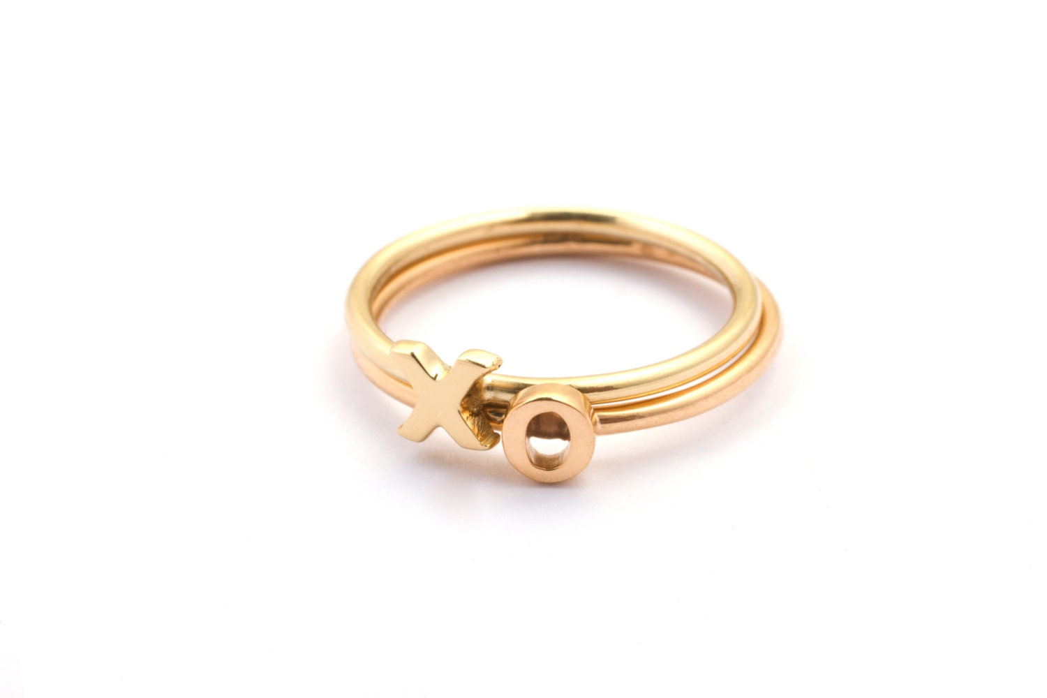 alphabet rings stackable initial rings gold by