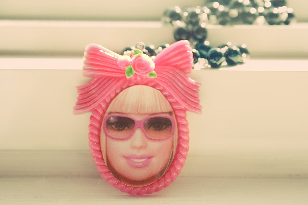 Barbie with hot pink sunglasses necklace
