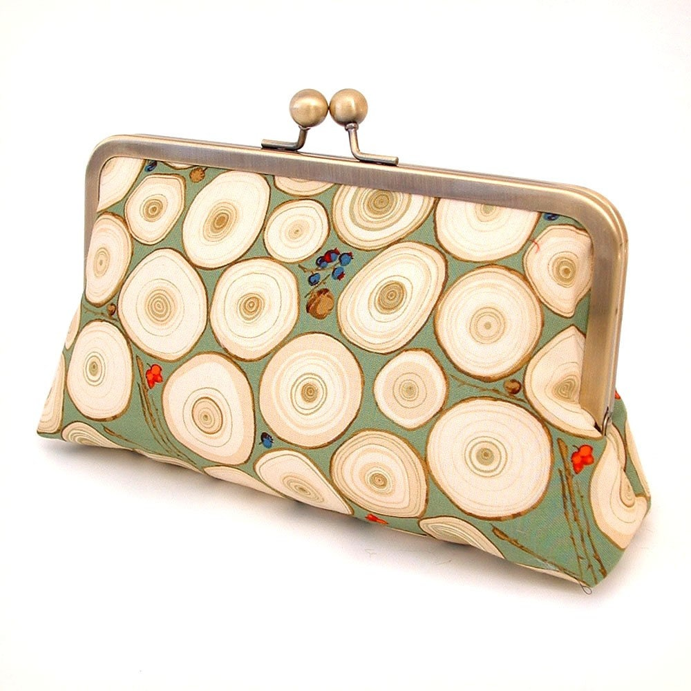 Tree rings - silk-lined clutch bag