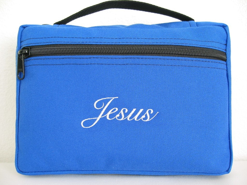 Royal Blue Bible Cover The Name Jesus Embroidered
