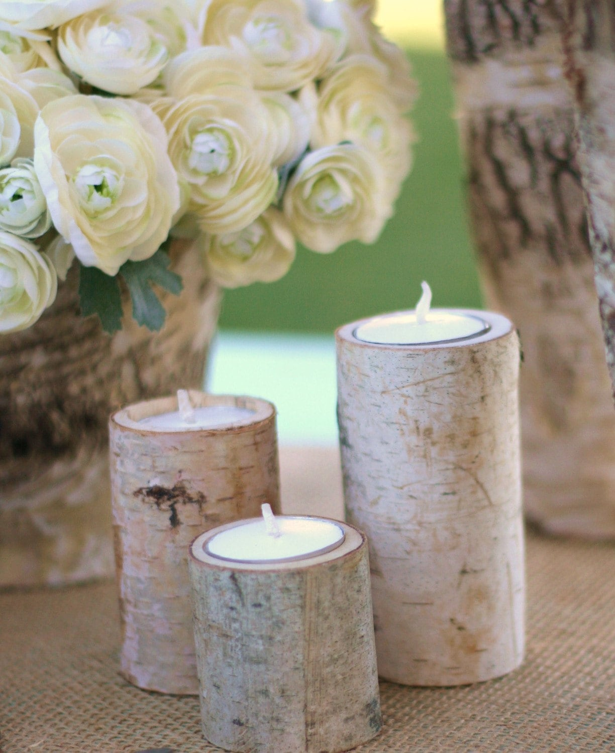 25 Centerpiece Natural Eco Friendly Birch Bark Log Votive Tea Light Candle Holders Rustic Woodland Spring Summer Garden Wedding Decorations Shabby Chic Vintage Bride