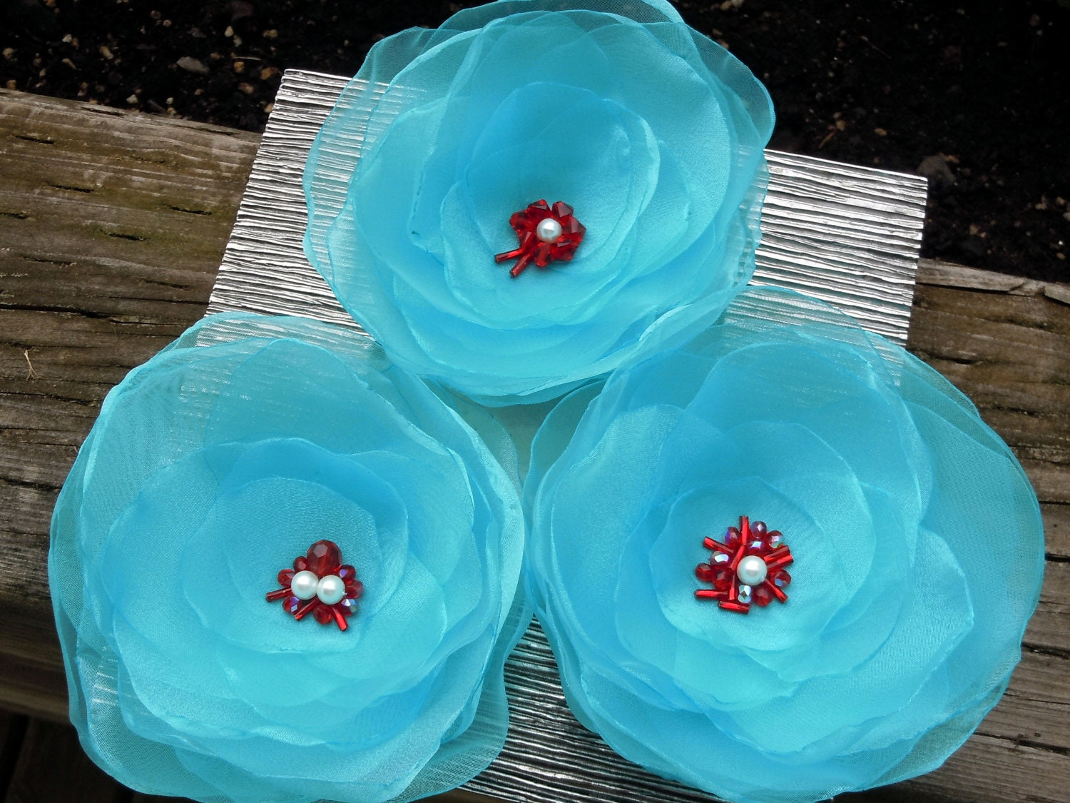 Turquoise and Red Wedding Hair or Dress Accessory Corsage Pin Brooch