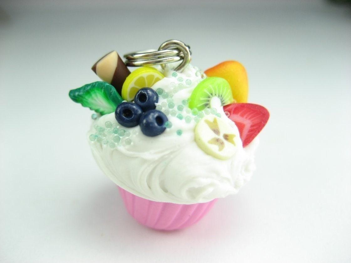 Fruit topped Pink Mini Cupcake Pendant