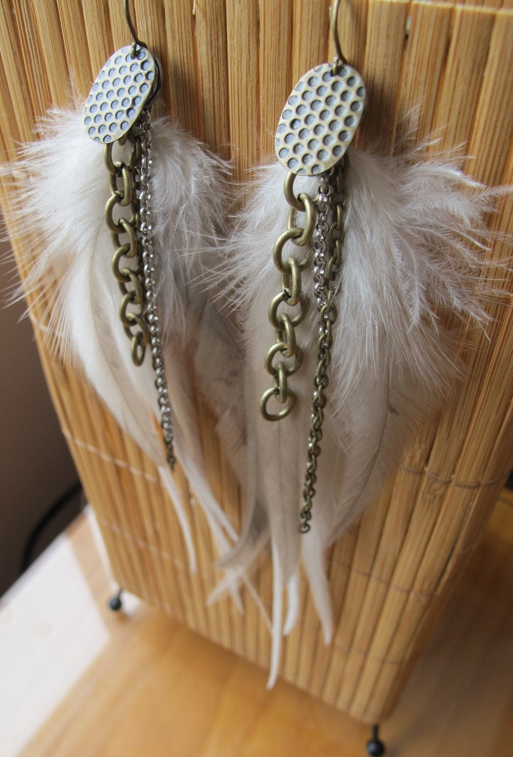 Funky fluffy fun white blonde feather earrings with brass and silver chains, really long and flowing feathers KOZ