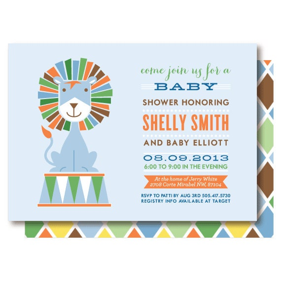 blue lion baby shower invitations by delightpaperie on etsy
