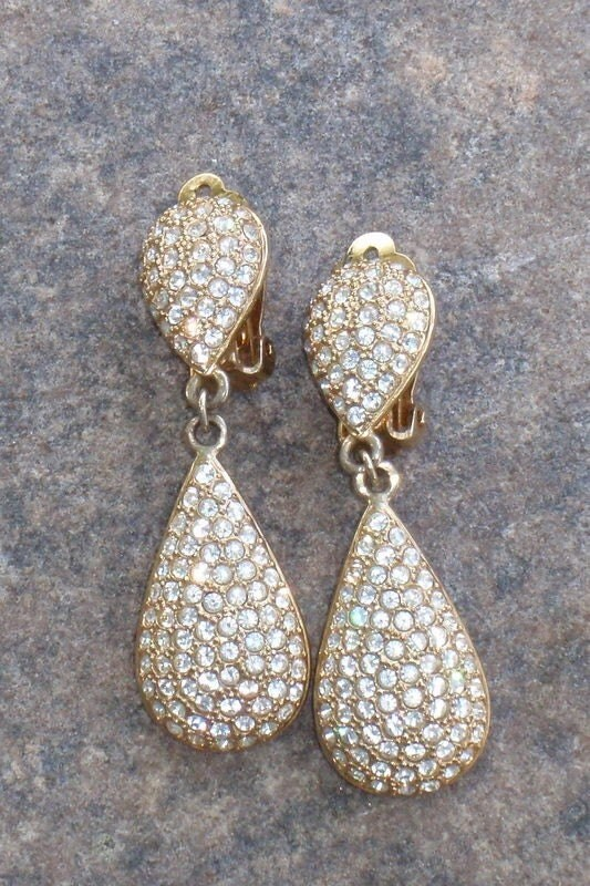 Vintage Pave Rhinestone Drop Earrings Diamond Like Sparkle Elegant Timeless Bride Evening Anytime
