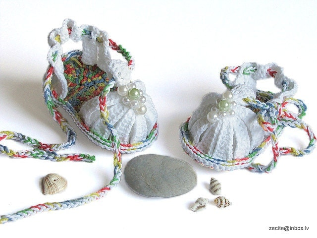 Baby summer sandals , crocheted, white /0-3M