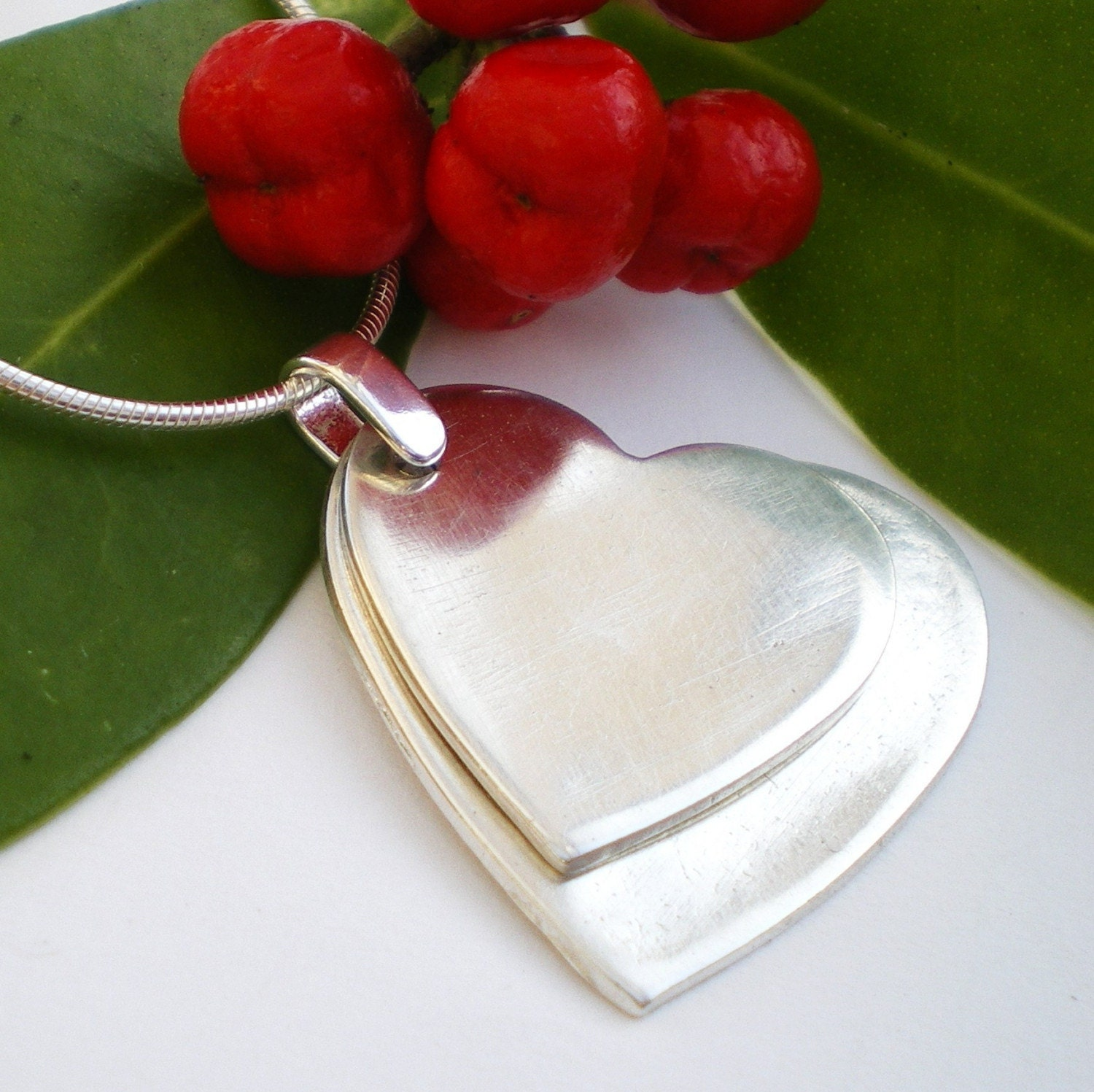 Simple Silver Hearts Pendant