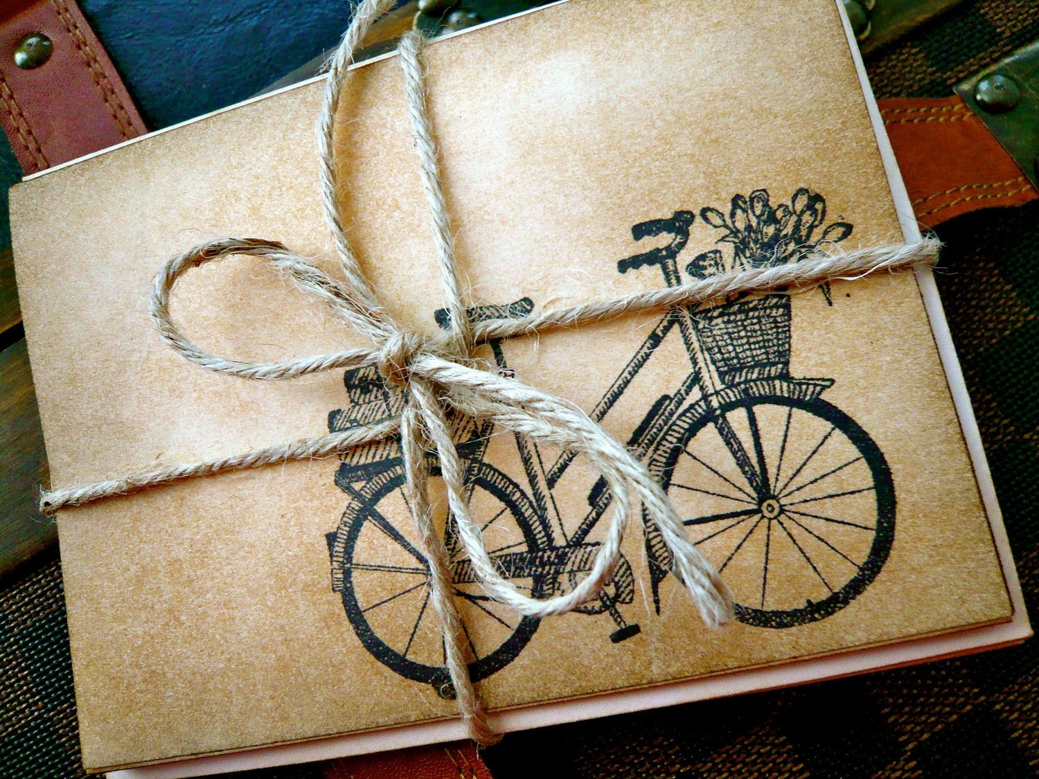 Set of 5 Vintage Inspired Blank Note Cards - Bicycle