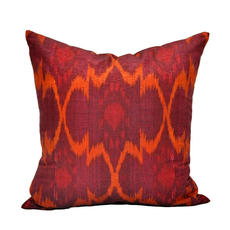 Red Throw Pillows Etsy : Decorative Wine Red Ikat pillow cover by EasternHomeDecor on Etsy