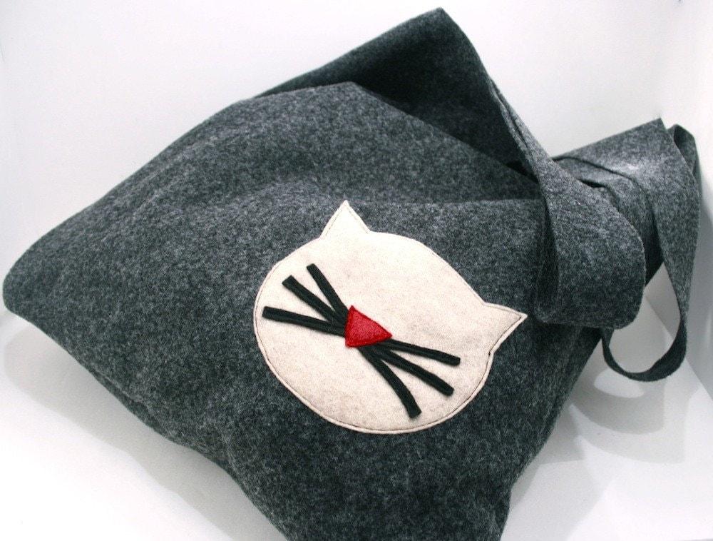 Handmade Felt Tote Bag- Cat Face