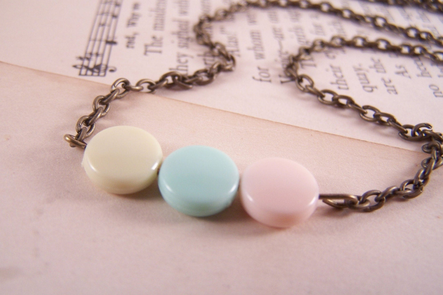 Pretty Pastels Antiqued Brass Necklace