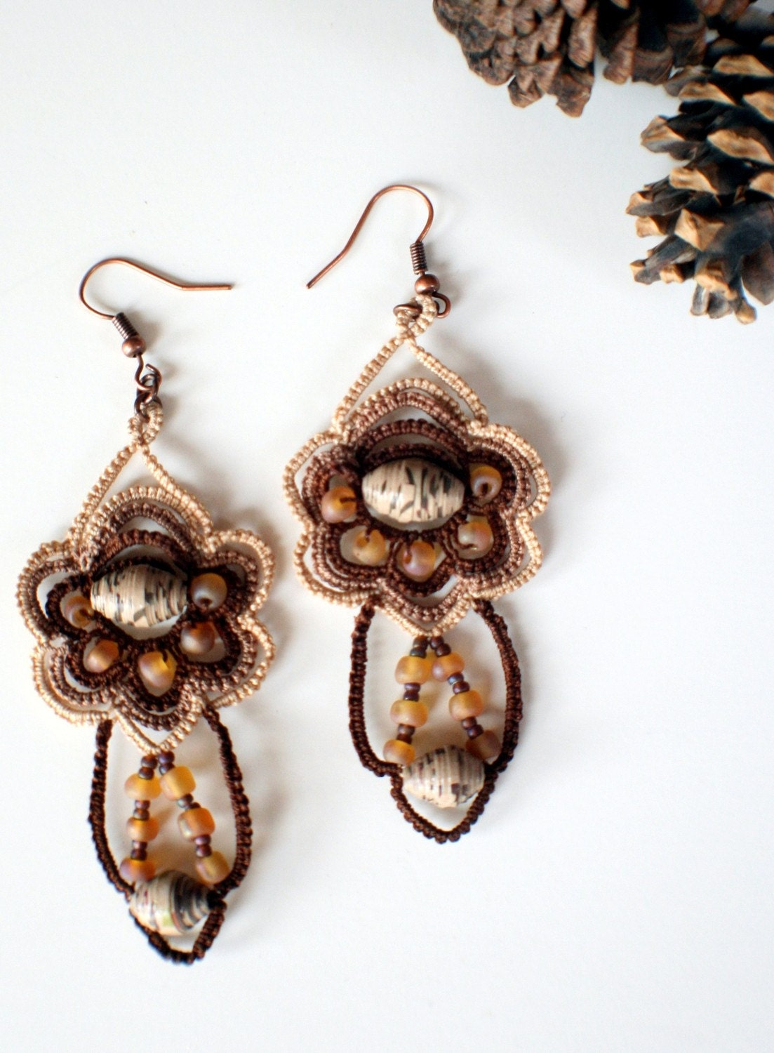 Woodsy Pair of Tatted Earrings