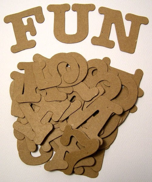 1 1/2 inch tall - AllStar Uppercase Alphabet Font and Numbers - Raw Bare Naked Ellison Kraft Brown Chipboard - Cute Chubby Typewriter Type - 36 pieces Sampler Pack