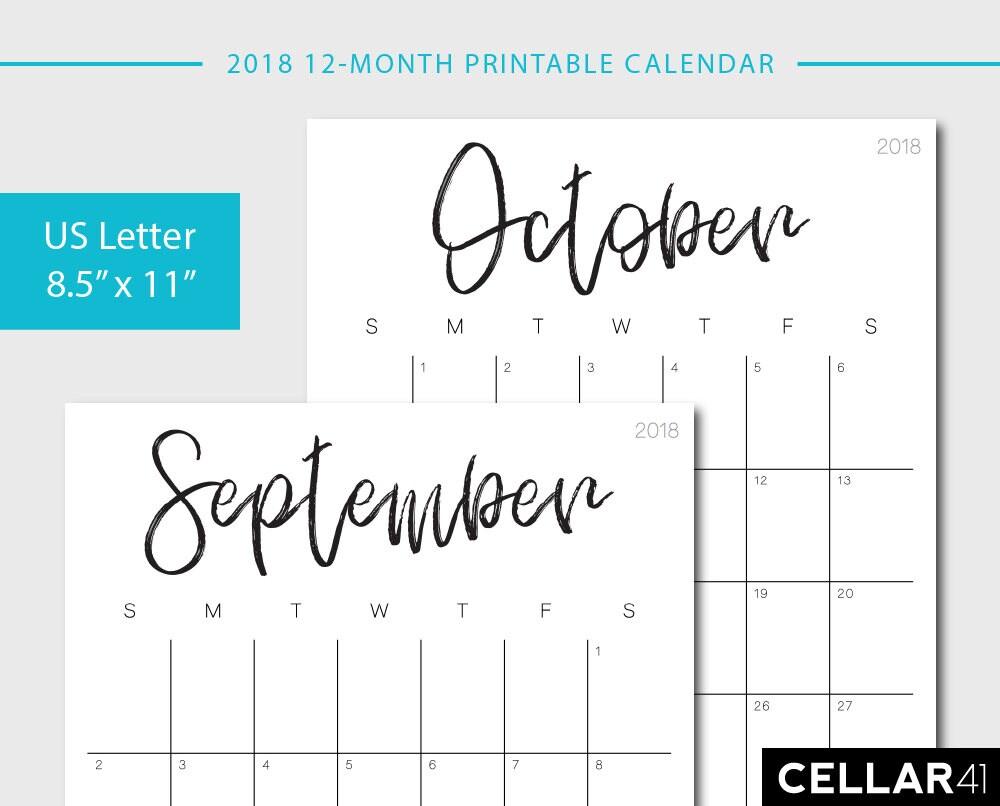 2018 Calendar Printable Calendar Monthly Planner Monthly