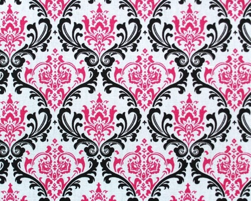 Madison damask print candy pink/black by whistlestopbedding