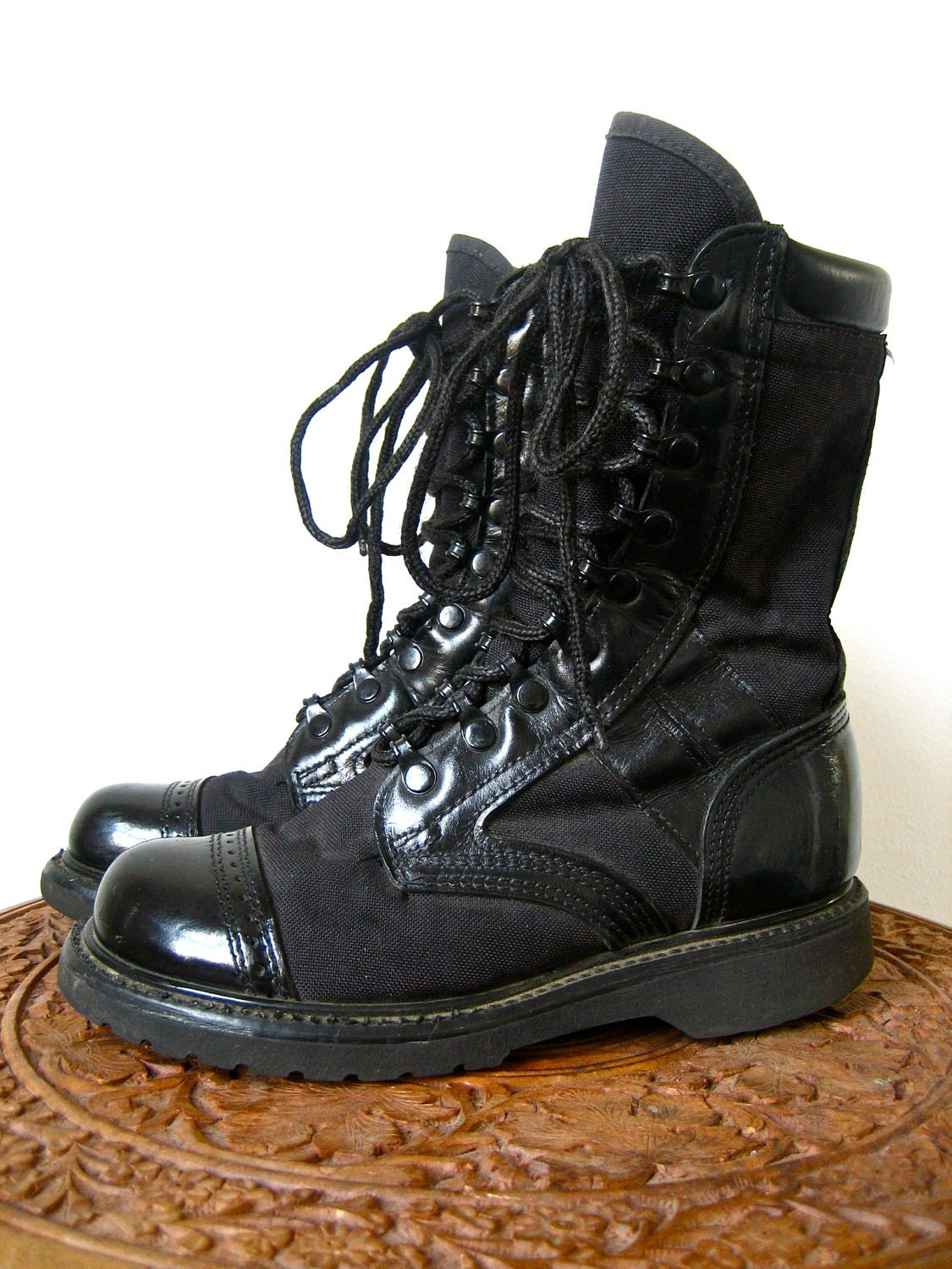 Black Military Boots Vintage 1960s Corcoran By Memoryvintage