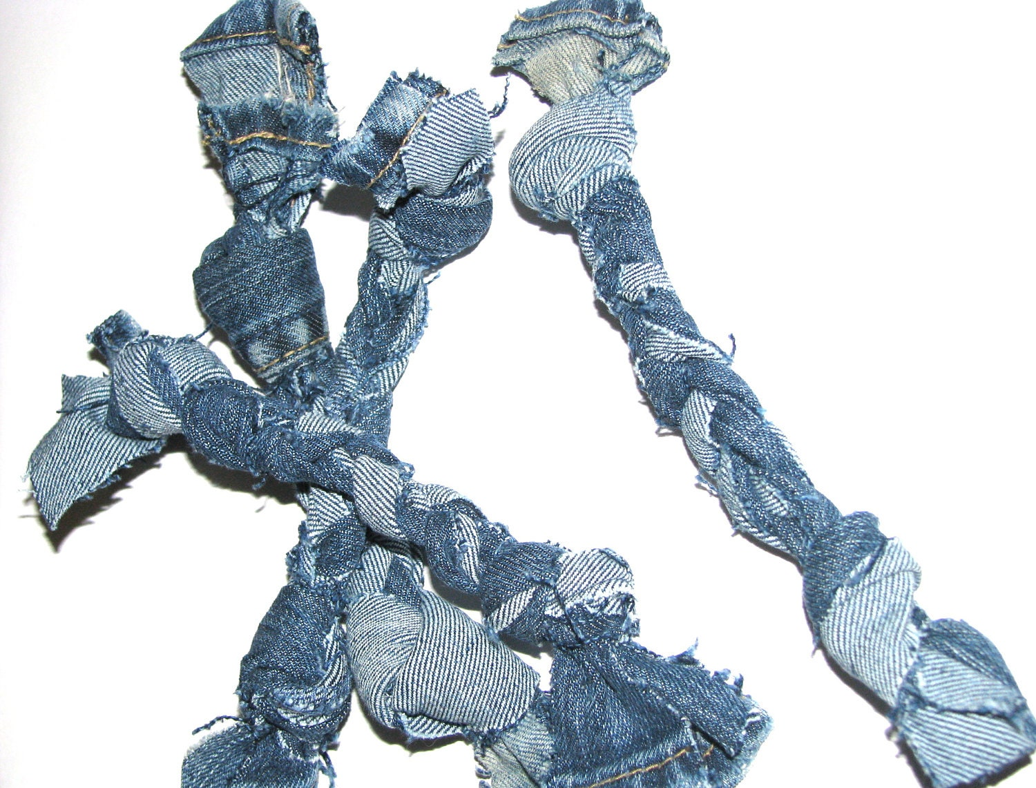 Dog tug toy Recycled  Jean material