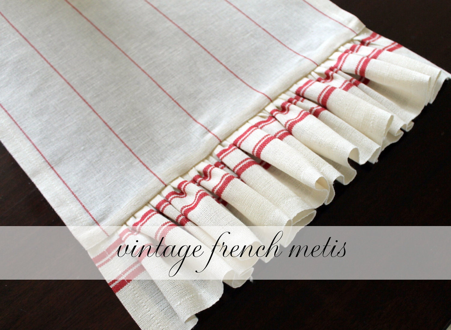 Vintage French Metis Cotton Linen Red and Cream Table Runner 14 x 62