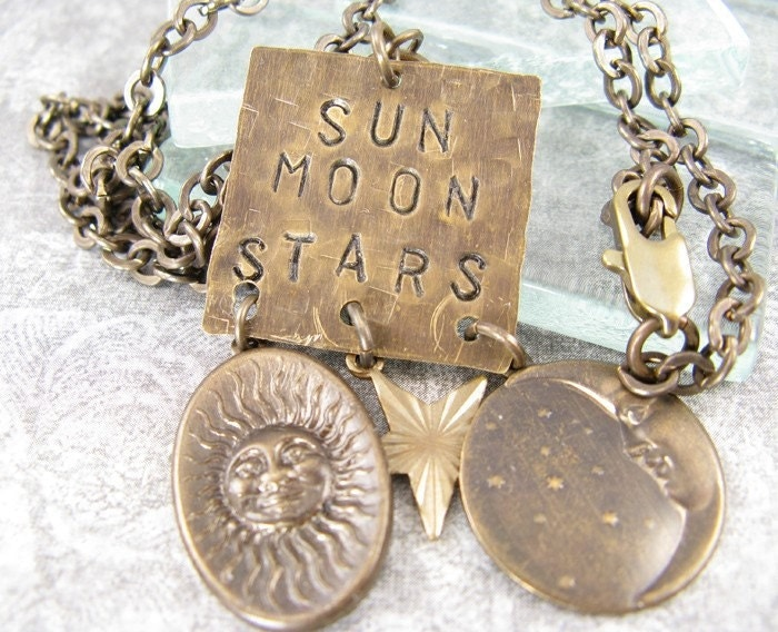 Sun Moon and Stars Hand Stamped Metal Necklace