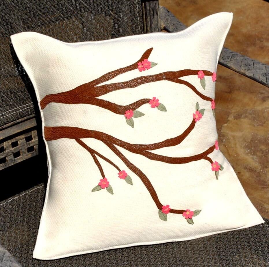 Cherry Blossom Linen Pillow