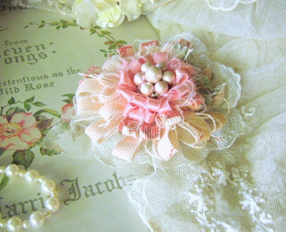 Flower Pin Brooch Corsage, Romantic Coral