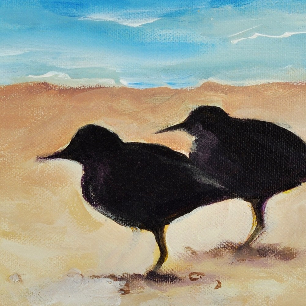 Afternoon Nap - Original Painting - Bird Couple on Beach - FREE SHIPPING