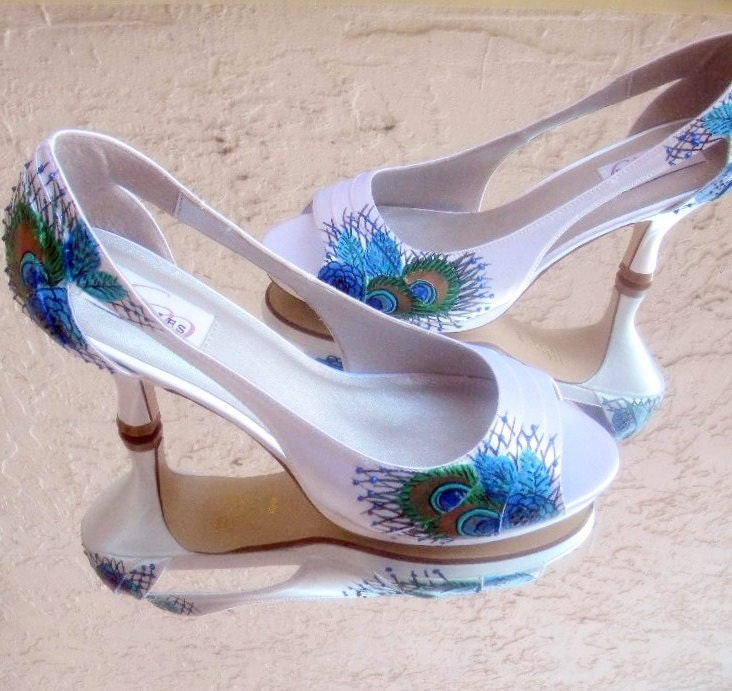 Wedding Shoes Painted Peacock 1950 Old Hollywood Glamour From norakaren