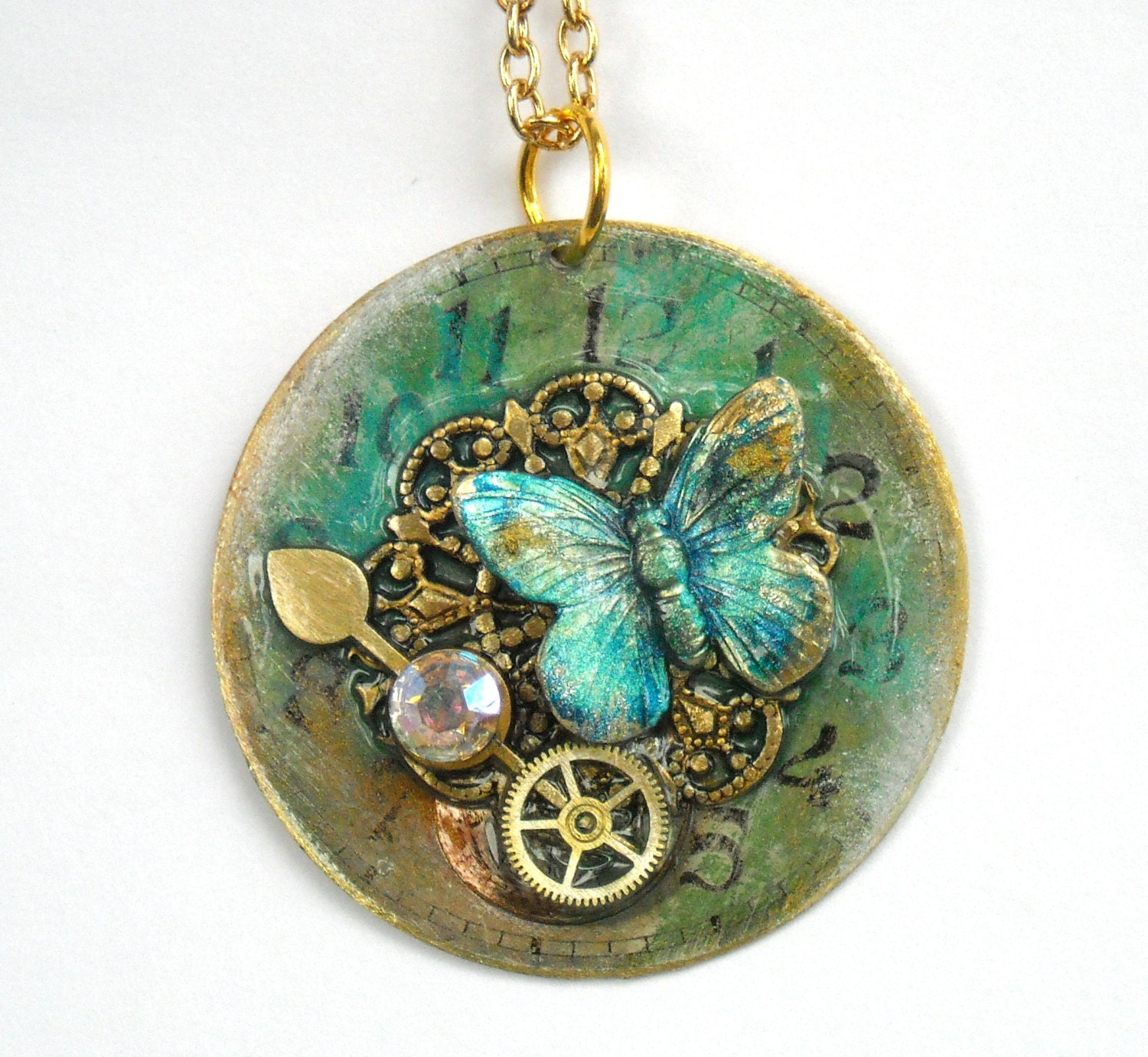 "Victorian Steampunk Necklace ""Secret Garden"" - TimeMachineJewelry"
