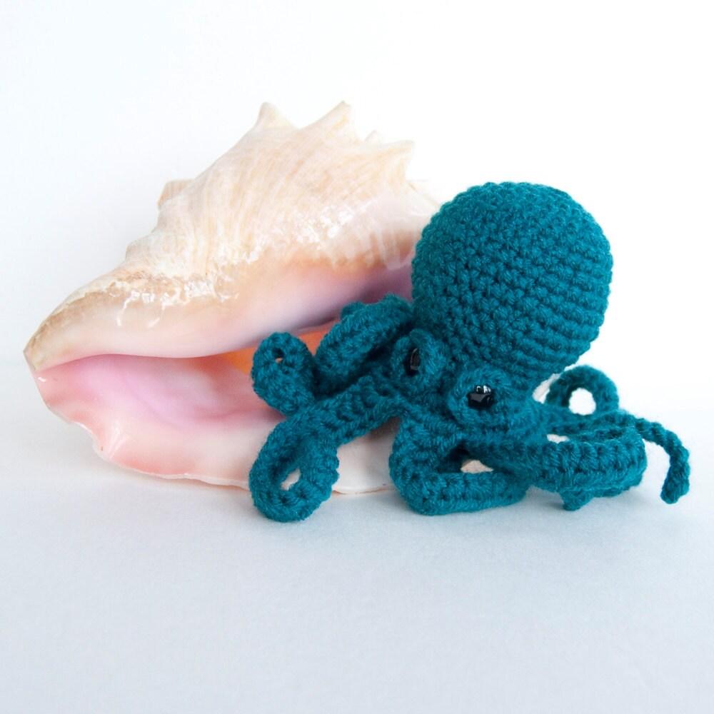 Octopus Amigurumi Plush : Amigurumi Baby Kraken Plush Octopus Teal by TheSpidersAttic