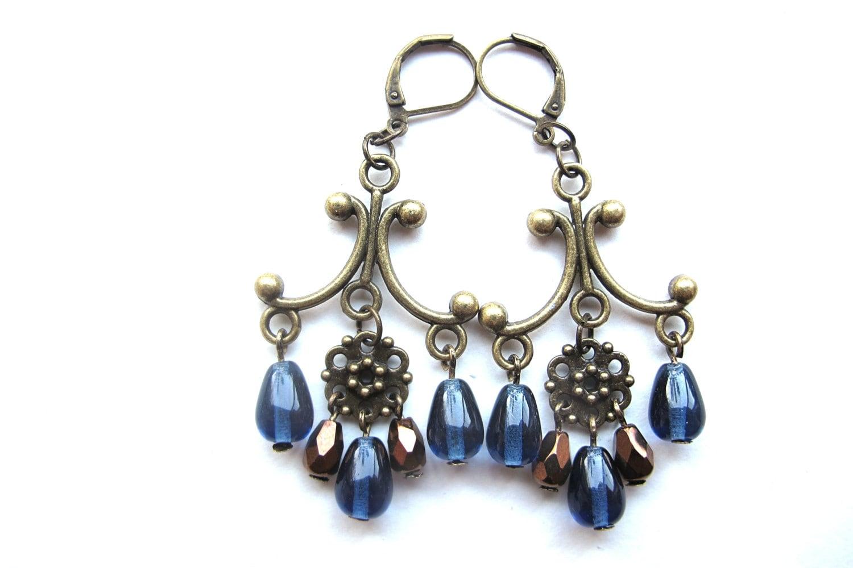 victorian earrings with blue jeans drops - mooisvanme