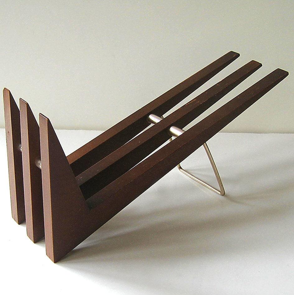 Wood Book Rack ~ Mid century book rack vintage wood shelf by flabbyrabbit