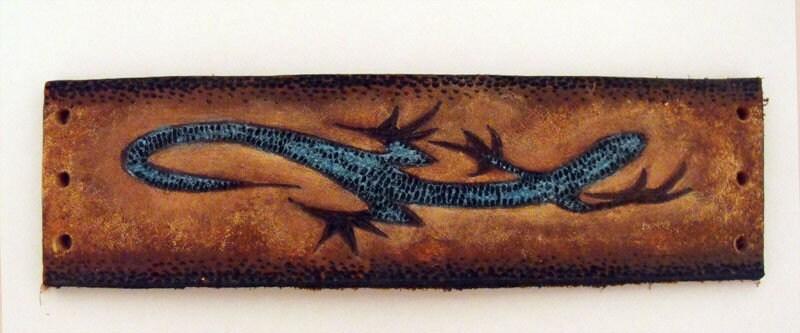 Leather lizard cuff bracelet