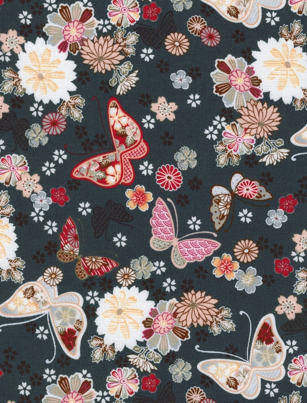 Flowers and Butterflies on Dark Blue - Japanese Fabric Fat Quarter