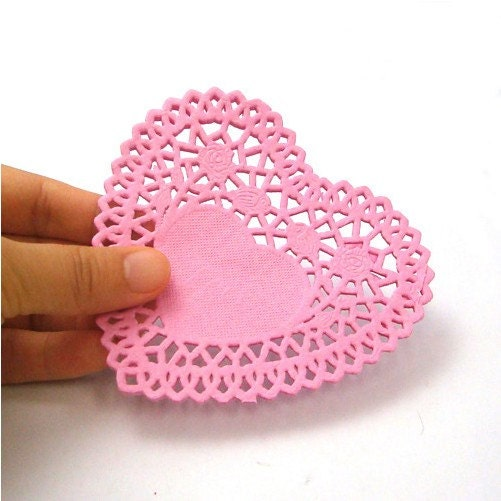 4inch Heart shaped Pink Paper Doily (30 sheets)