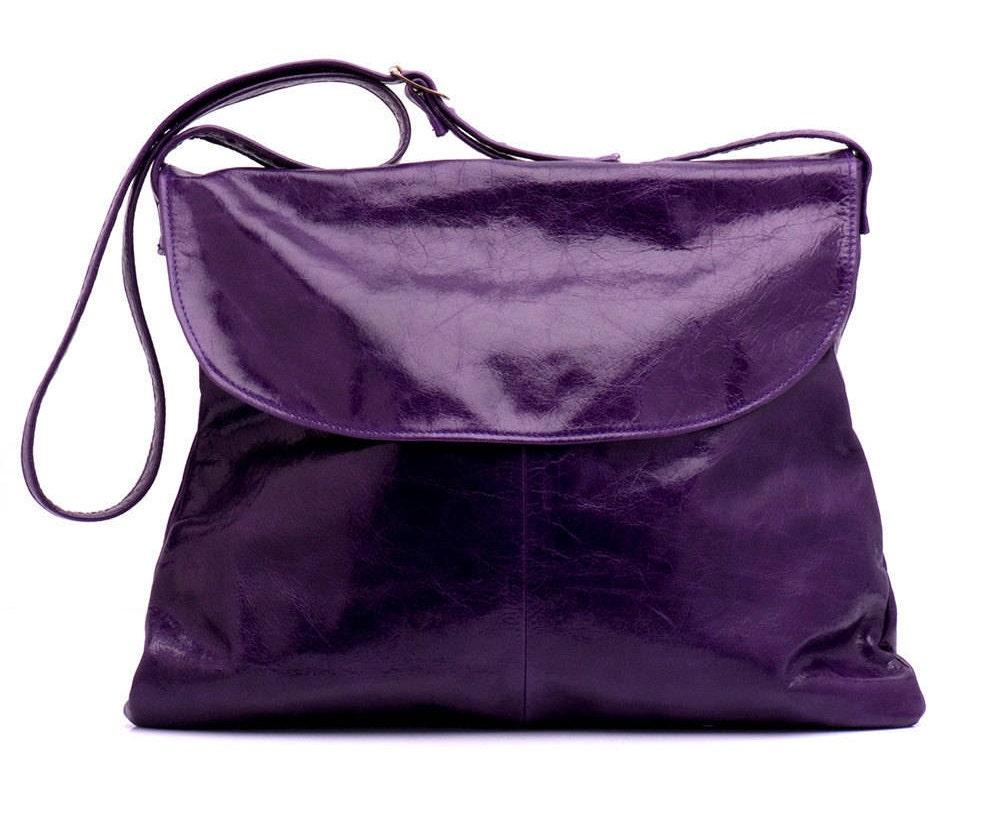 Purple leather Solo satchel handbag Purple crossbody bag Leather cross body handbag Handmade gifts for women
