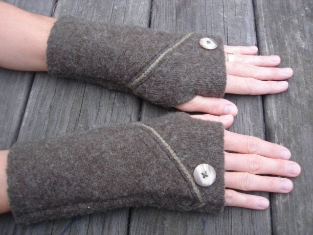 Upcycled Wool Arm Warmers Fingerless Gloves Brown/Green