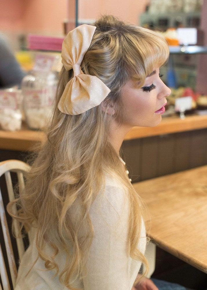 Huge Oversized Cute Pastel Polka Dot Hair Bow- IN 7 COLOURS - beauxoxo