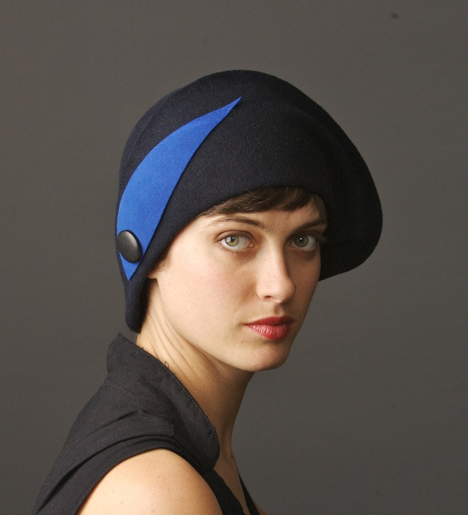 black cloche felt hat with blue ornament, see more hats at www.yellowfield.net