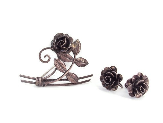 Vintage Sterling Silver Flower Earrings and Brooch Set, Silver Roses, Antique Rose Jewelry, Signed  Sterling - YesterdaysSilhouette