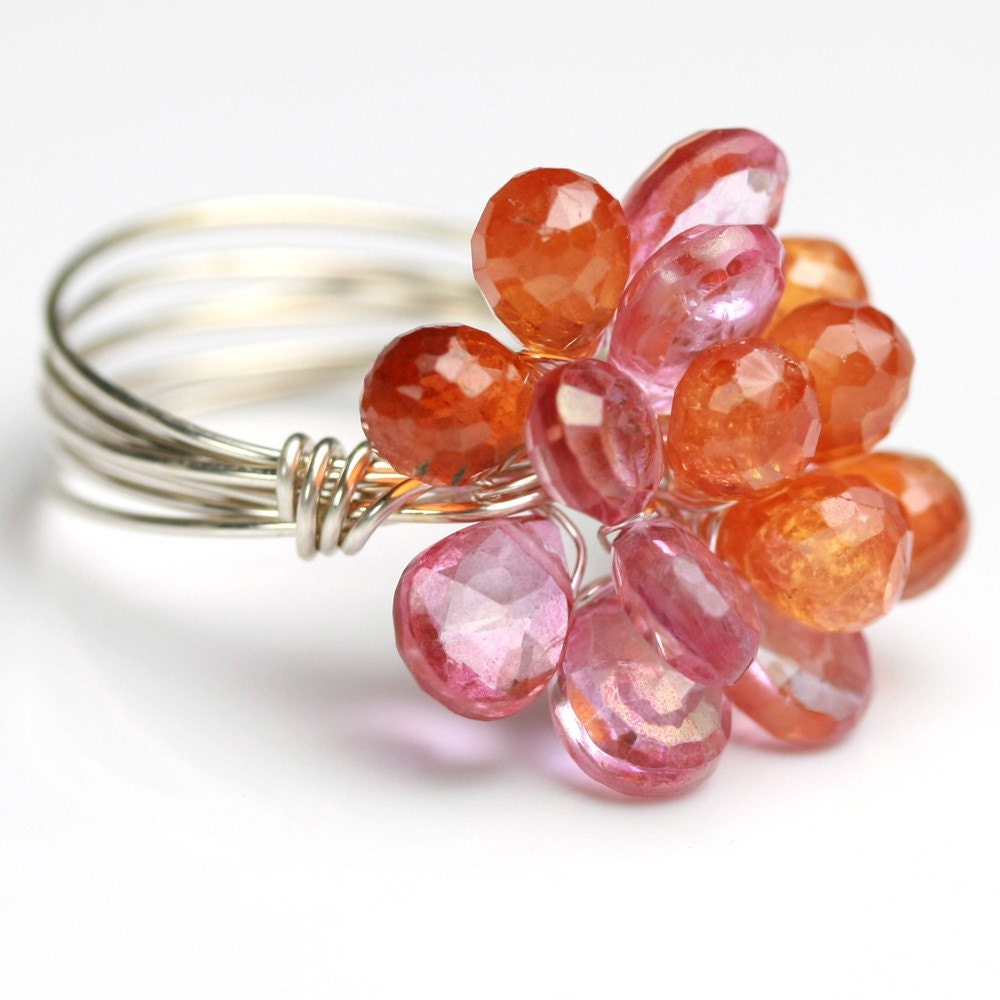 Etsy :: fussjewelry :: Pink Topaz and Mandarin Garnet Bloom Ring