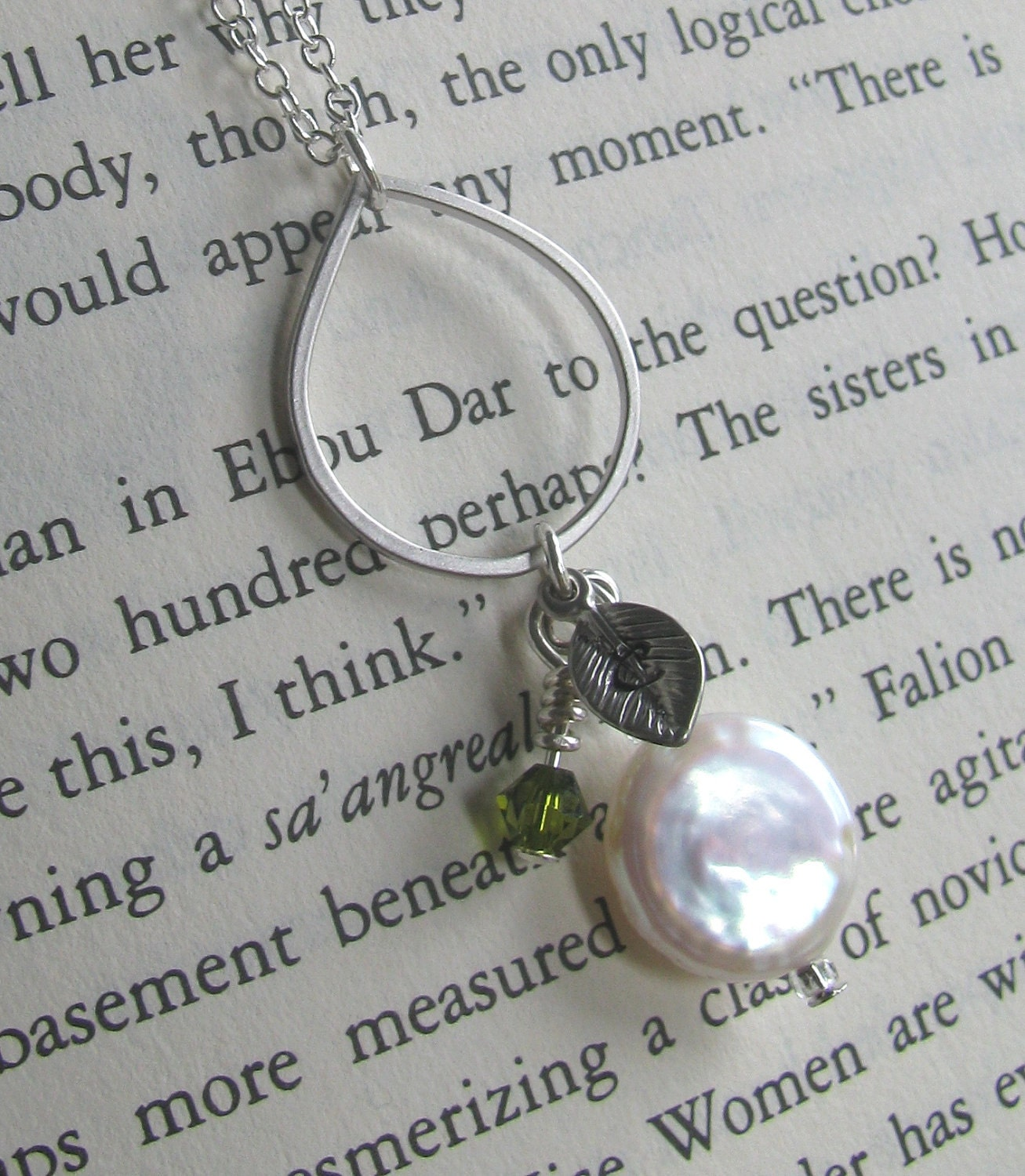 Custom Coin Pearl Handcrafted Handstamped Silver and Crystal Necklace-Choose Your Color