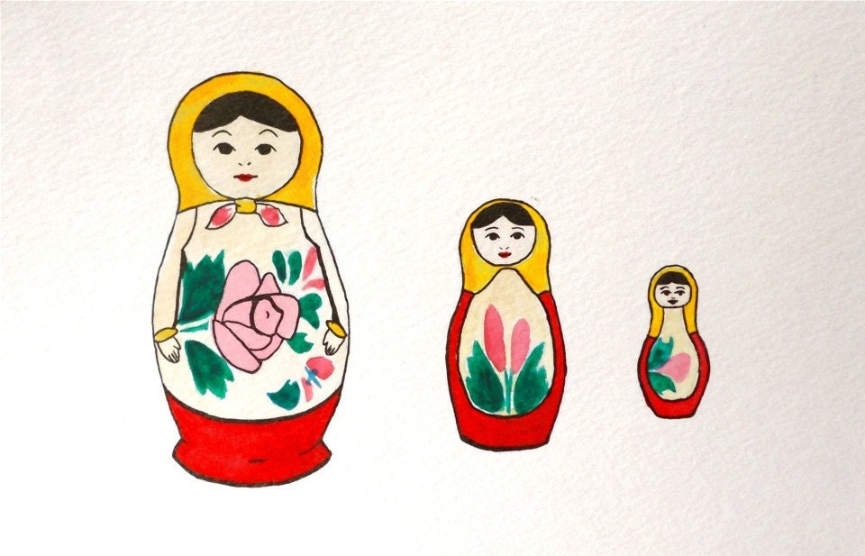 Matryoshka Dolls -- Original watercolor illustration