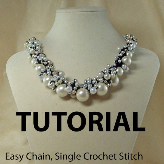 Crochet Tutorial Necklace : Crochet Pearl or Beaded Necklace Tutorial by ljeans on Etsy