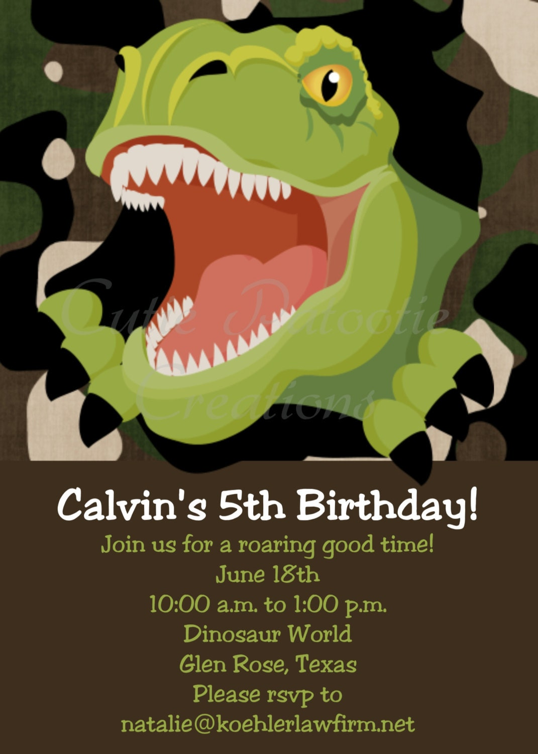 Rex Dinosaur Birthday Invitation Dinosaur Invitations Printable or ...