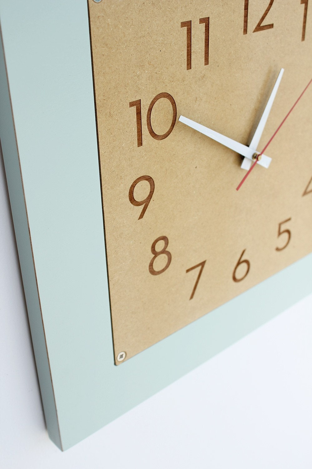 large retro modern clock with numbers, square