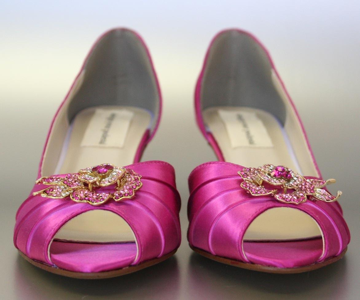 Fuschia Wedding Shoes: Items Similar To Custom Wedding Shoes -- Fuschia Peeptoes
