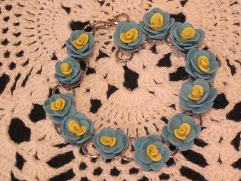 Polymer Clay Bracelet - Flower Bracelet - Floral Bracelet - Handmade Bracelet - Blue Bracelet